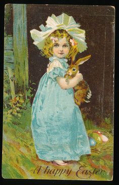 Image not available Photos not available for this variation      Mouse over image to zoom       Have one to sell? Sell it yourself    Little Girl Hold Bunny RABBIT Antique Embossed Easter Postcard-ccc384