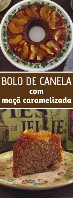 Bolo de canela com maçã caramelizada | Food From Portugal. Se vai receber amigos em sua casa e quer preparar um lanche delicioso e com excelente apresentação, este bolo aromatizado com canela com maçã caramelizada é perfeito! Bom apetite!!! #receita #bolo #canela #maçã