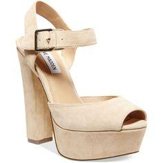 Steve Madden Jillyy Two-Piece Platform Dress Sandals Women's Shoes (1,765 MXN) ❤ liked on Polyvore featuring shoes, sandals, blush, steve madden footwear, dress sandals, steve madden sandals, platform dress sandals and dress sandals shoes