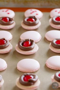 Inside of Chocolate Cherry French Macarons