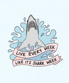 """Draw Sharks This is a print from an original drawing of Tracy Jordan from 30 Rock's quote """"Live every week like it's shark week"""" The artwork is printed on acid free white photo paper, sealed in an archival bag 30 Rock Quotes, Creation Art, Emblem, Shark Week, Kawaii, Art Inspo, Retro, Illustration Art, Doodles"""