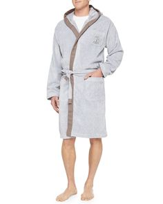 Men's Cotton Spa Robe, Gray, Size: MEDIUM, Navy - Brunello Cucinelli