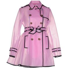 Redvalentino Full-length Jacket ($580) ❤ liked on Polyvore featuring outerwear, jackets, pink, full length jacket, pink trench coat, double breasted trench coat, trench coat and trench jacket