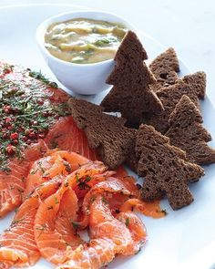 Dill & Pink Peppercorn Cured Salmon with Pumpernickel Trees