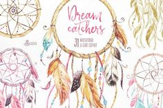 Dreamcatchers. Watercolor collection. Perfect graphic for DIY projects, cards, wedding invitations, greeting cards, photos, posters, quotes, blogs and more.