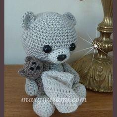 Amigurumi, animal au crochet, ours et son doudou