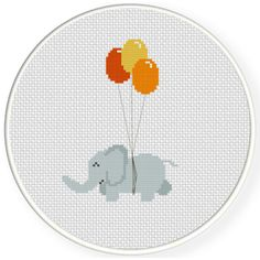 FREE Cute Elephant with Balloon Cross Stitch Pattern