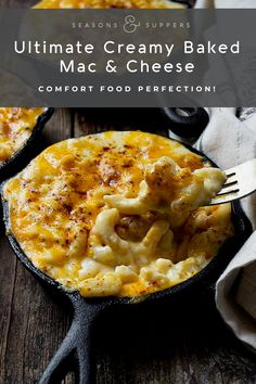 The ultimate, creamy baked mac and cheese ever! For when only the best will do, this dish is comfort food perfection! The ultimate, creamy baked mac and cheese ever! For when only the best will do, this dish is comfort food perfection! Best Mac N Cheese Recipe, Best Macaroni And Cheese, Macaroni Cheese Recipes, Mac And Cheese Homemade, Baked Cheesy Mac And Cheese Recipe, Mac N Cheese Bake, Mac And Cheese Receta, Cooking Macaroni, Mac And Cheese Casserole