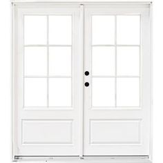 MP Doors 60 in. x 80 in. Fiberglass Smooth White Right-Hand Inswing Hinged Patio Door with SDL Smooth White Exterior And Interior - July 20 2019 at French Doors With Screens, French Doors Patio, French Patio, Double Doors Exterior, Double Front Doors, Garage Door Styles, Garage Door Design, Sliding Garage Doors, Door Hinges
