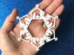 3D-Printed Nativity Ornament - incredible detail, and lightweight!   Nativity scene with Mary, Joseph, and baby Jesus in a white intricate snowflake pattern.   #christmas #nativity #christmasgift #christmasdecoration #christmasdecor #christmastree #ornament #gift