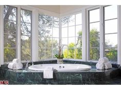 Could you soak in this tub all day? Beverly Hills, Amazing Bathrooms, Tub, Home And Family, Sweet Home, Real Estate, Design, Bathtubs, House Beautiful