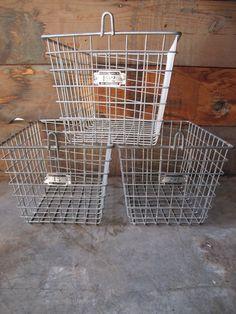 Vintage Northwest Wire Works, Seattle Washington Gym Locker Baskets - Industrial Decor by PortlandRevibe on Etsy
