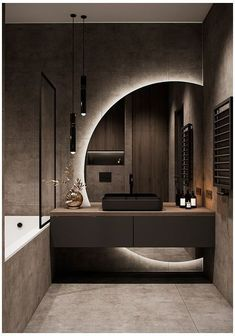 Brighter colors but might be nice for powder as that mirror would provide full length:) And interesting, unusual factor! Washroom Design, Toilet Design, Bathroom Design Luxury, Modern Bathroom Design, Modern House Design, Industrial Bedroom Design, Bathroom Mirror Design, Design Kitchen, Home Room Design
