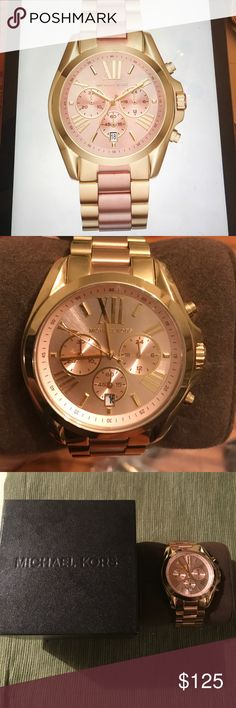 Michael Kors Ladies Watch 43mm MK6359 This beautiful authentic Bradshaw watch by Michael Kors is a gold and rose tone stainless steel bracelet watch. The pop of pink brings an ultra-feminine feel to a classic watch! Item never been worn still have the original box and price tag to watch. Michael Kors Jewelry