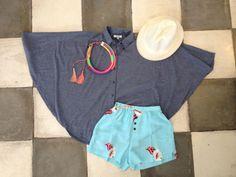 Summer outfit #bat-wingshirt #flowerfloralshorts #hat #neonnecklace