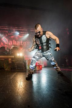 Joakim Broden of Sabaton performing live on stage at O2 Academy Birmingham on February 28 2016 in Birmingham England