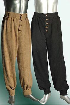 Corsair Renaissance pantalons pantalons de coton à la main pour médiéval ou Pirate Costume vêtements faits à la main