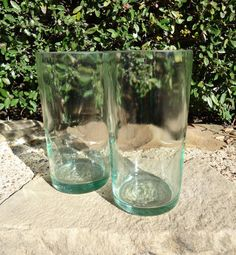 These were wine bottles at one point!  Wine Bottle Glasses in Retro Soda Lime green - check out the details on these!  $18.00