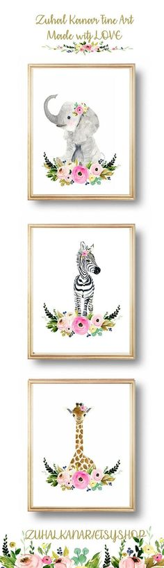 Safari babies nursery set, Animal Paintings, elephant, giraffe, zebra, watercolor animal, kids poster, baby girl nursery art, nursery art https://presentbaby.com