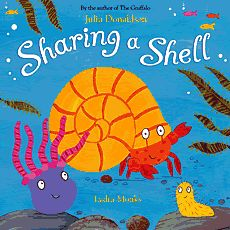 Sharing a Shell with glittery graphics.  Julia Donaldson also sings these stories.  Click here for the sharıng the shell song http://www.gruffalo.com/section.php?s=html/clips.html