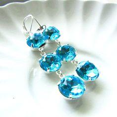 Dangle Estate Style Aquamarine Blue Silver by RachellesJewelryBox, $34.00