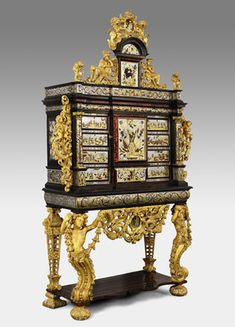 Henry Van Soest, Cabinet with the Coat of Arms of King Philip V of Spain, ca. 1701-13, Antwerp, tortoiseshell, brass, pewter, ivory, mirrored glass, ebony, gilt-wood