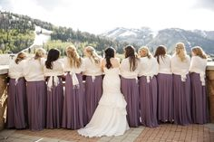 Photographer: Pepper Nix Photography / Wedding Planner/Coordinator: Soiree Productions / Reception Venue: Stein Eriksen Lodge / Bride's Dress: Monique Lhuillier /  www.peppernix.com #weddingidea #weddinginspo  #bridesmaids #lavender #bridesmaiddresses #bride #moutainwedding #weddingdress #weddinggown