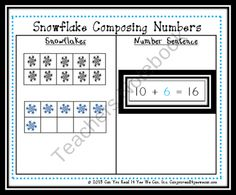 Snowflake Composing Numbers Center Game product from Can-You-Read-It on TeachersNotebook.com