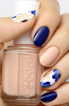 Blue, navy, neutral, beige, white, flowers, brush, essie