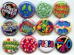 FLOWER POWER Child Peace Love HIPPIE 12 Pinback 1 by Yesware, $13.00