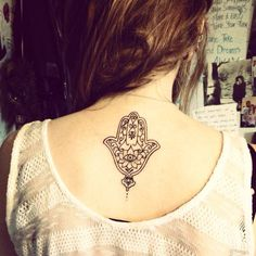 Hamsa eye tattoo located on the back