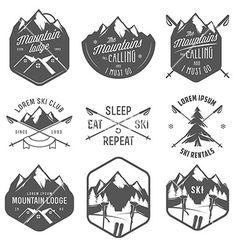 Set of vintage skiing labels and design elements vector by. Best Picture For banner Design Element Badge Design, Label Design, Logo Design, Graphic Design, Vintage Ski, Wallpaper Cross, Ski Club, Badge Logo, Free Vector Art