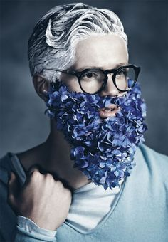 """Blue Beards"" photography by Kylie Coutts, styling by Jolyon Mason with hand-made-beards by Lisa Cooper #BarbeBleue #BlueBeard #BarbaBlu #BarbaAzul - Carefully selected by Gorgonia - www.gorgonia.it"