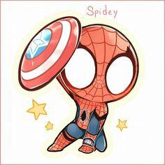 . Chibi Marvel, Marvel Dc Comics, Marvel Heroes, Marvel Avengers, Deadpool And Spiderman, Spiderman Art, Amazing Spiderman, Chibi Spiderman, Superfamily Avengers