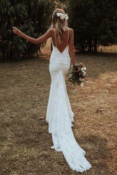 Clo Gown | Lace Wedding Dress | Grace Loves Lace Backless Lace Wedding Dress, Top Wedding Dresses, Wedding Wear, Boho Wedding, Bridal Dresses, Nautical Wedding, Beach Wedding Sandals, Lace Bride, Grace Loves Lace