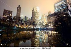 Central Park and New York City skyline at mist