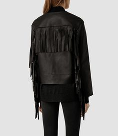 Womens Tassel Leather Bomber Jacket (Black) - product_image_alt_text_2