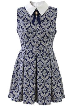 Baroque Print Dress with Contrast Collar - New Arrivals - Retro, Indie and Uniqu...