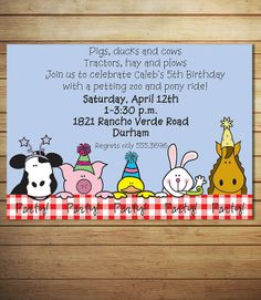 Petting Zoo Birthday Invitation  Printable by lollipopsandunicorns, $12.00
