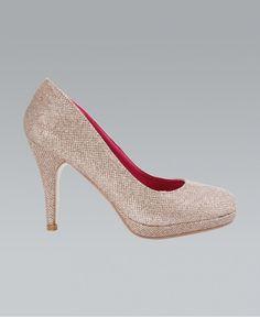 Gold Glitter Round Toe High Heels