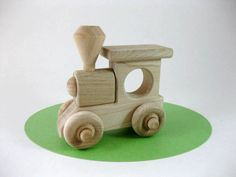 Wood Toy Train Engine Natural Maple by GreenBeanToys on Etsy, $9.00