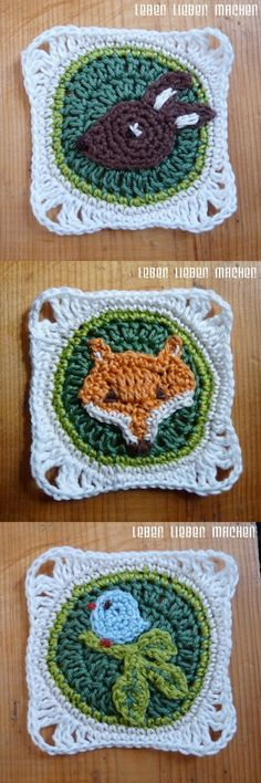 Animals Granny Squares tutorial by leben lieben machen in German. There is a chart for the fox. Would make a nice brooch.