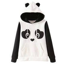2017 Mujer Hoody Estilo Hippie Kawaii Sudaderas Casual Lindo Exportador Lindo Panda de la Historieta Impresa Con Orejas(China)