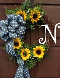 Monogram Wreath with sunflowers, Polka dot denim ribbon wreath with sunflowers, sunflowers, monogram wreath, spring wreath, grapevine wreath by KarensCustomWreaths on Etsy