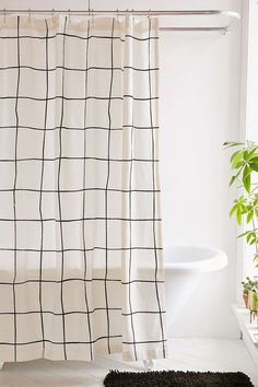 Wonky Grid Shower Curtain by Urban Outfitters