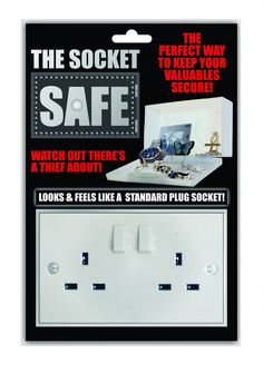 Wall Plug Socket Safe - Disguised as an ordinary wall socket, no one will even think of checking this for valuables! Easy to attach with the sticky pads or screw holes, this will keep valuable stuff safe from nimble fingers Secret Safe, Sticky Pads, Thing 1, Wall Plug, Unusual Gifts, Cool Gadgets, Lockers, Plugs, Locker Storage