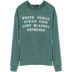 Yoins Letter Printing Hoodie in Green (£11) ❤ liked on Polyvore featuring tops, hoodies, shirts, green, long sleeve tops, long sleeve shirts, green hooded sweatshirt, shirt hoodies and shirt hoodie