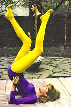1970's, personal yoga practice in the open air (vintage yoga style photo)