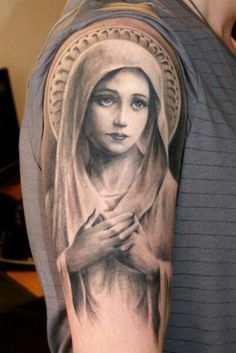 The Virgin Mary tattoo Catholic Church Jesus the Mother of God saint Our Lady the Mystical Rose shoulder arm elbow prayer praying hands saint