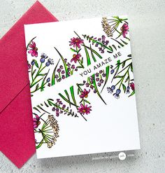 Techniques Video by Jennifer McGuire includes using a frame stamp as a border stamp. Stamp: Pinkfresh Hero Arts You Make a Difference. You Make A Difference, Jennifer Mcguire Ink, Art Carte, Karten Diy, Doodles, Watercolor Cards, Flower Cards, Gift Flowers, Fabric Flowers
